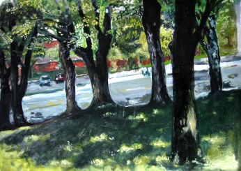 Through theTrees, oil on Arches rag paper, 1995