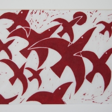 The hunt, linoleum print, 2014