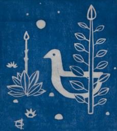Twilight birdsong, linoleum print, 2014