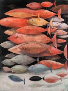 A school of mostly red fish, 2013