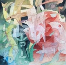"Refuge, watercolor, 5"" x 5"", 2015, SOLD"